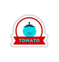 Label icon on design sticker collection tomato vector