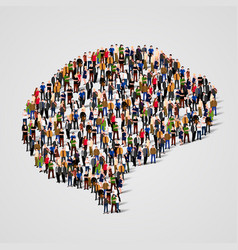 Large group of people in the brain sign shape vector