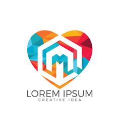 letter m heart logo design vector image