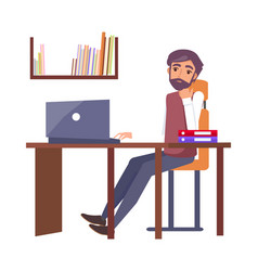 man in office workplace typing computer dreaming vector image