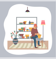 man in workshop master making clay pots working vector image