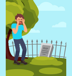 Man standing near tombstone and crying grieving vector