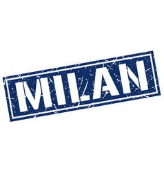 Milan blue square stamp vector
