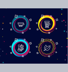 Mint bag dry cappuccino and frappe icons mint vector