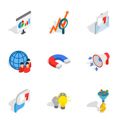 mobile marketing icons isometric 3d style vector image