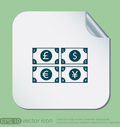 money bill symbol icon dollar pound sterling vector image