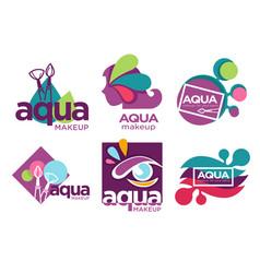 Natural cosmetics aqua makeup isolated icons vector