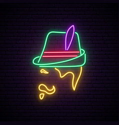 oktoberfest neon signboard man with traditional vector image