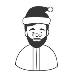 Old man santa claus hat icon vector image