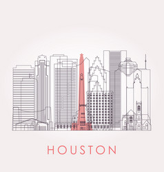 Outline houston skyline with landmarks vector