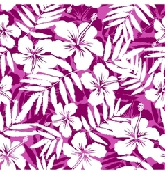 Pink and white tropical flowers silhouettes vector