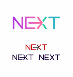 prinnext word with arrow letter logo design vector image