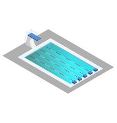 Realistic isometric sport pool perspective design vector