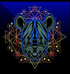 Rhino head mascot logo design vector