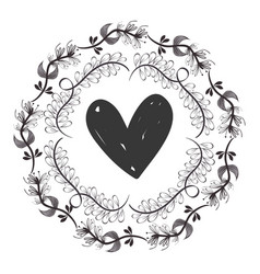 Rustic Heart With Branches Plant Design Vector