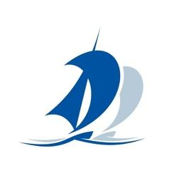 Sailing ship upon waves vector