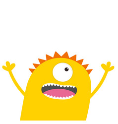 Screaming monster head with two eyes hands teeth vector