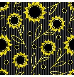 seamless dark striped background with abstract sun vector image vector image