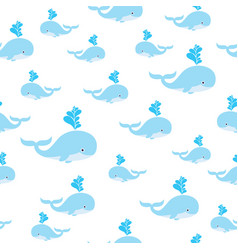 seamless sea pattern with cute whale vector image