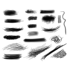 Set of digitally hand drawn black and white vector