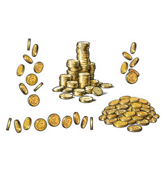 Set of gold coins in different positions in sketch vector