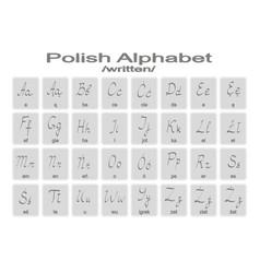 Set of monochrome icons with polish alphabet vector
