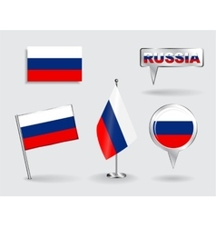 Set of Russian pin icon and map pointer flags vector