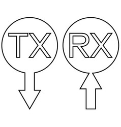 sign icon tx rx transmission receiving data vector image