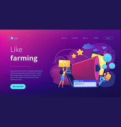 Social networks promotion concept landing page vector