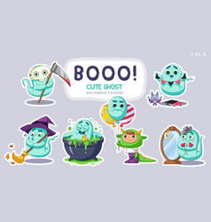 sticker set cute cartoon ghosts with different vector image