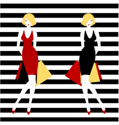 Stripped background fashion girl vector
