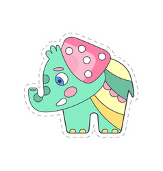 sweet funny baby elephant colorful cloth patch vector image
