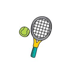 tennis cartoon icon theme vector image