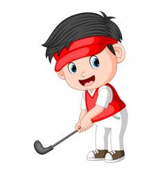 the children profesional golfer ilustration vector image