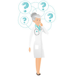 thinking caucasian doctor with question marks vector image vector image