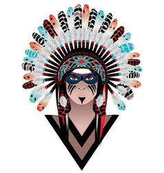 tribal man in war bonnet vector image