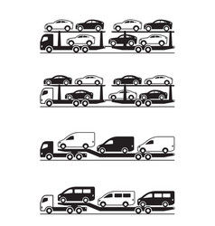 Truck carrying cars pickups suv and vans vector