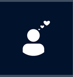 user with heart icon simple love valentine sign vector image