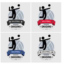 Volleyball club logo design artwork of vector