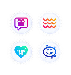 Wish list marry me and waves icons set yummy vector