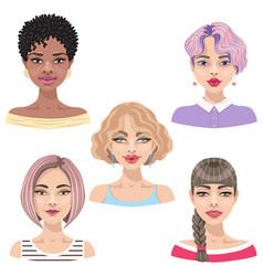 woman character avatar set vector image