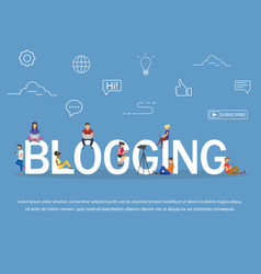 blogging concept of young people using laptops and vector image vector image