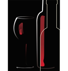 bottle and glass with red wine vector image
