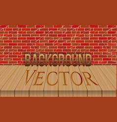 empty wood table top on brick wall background vector image