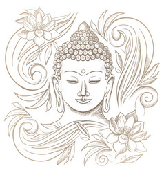 gautama buddha with closed eyes and floral pattern vector image