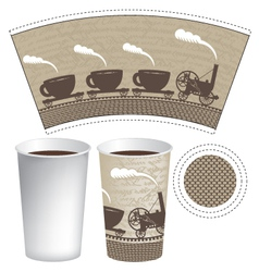 pattern paper cup vector image vector image
