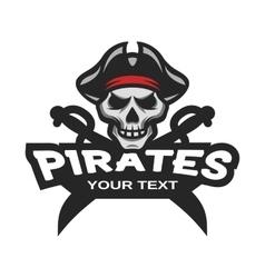 Skull pirates and swords Mascot logo vector image vector image