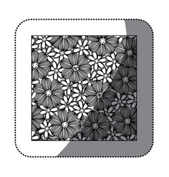 sticker monochrome background with contour flowers vector image