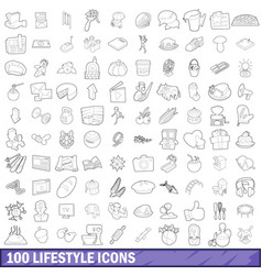 100 lifestyle icons set outline style vector image