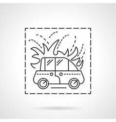 Car fire insurance flat line icon vector image vector image
